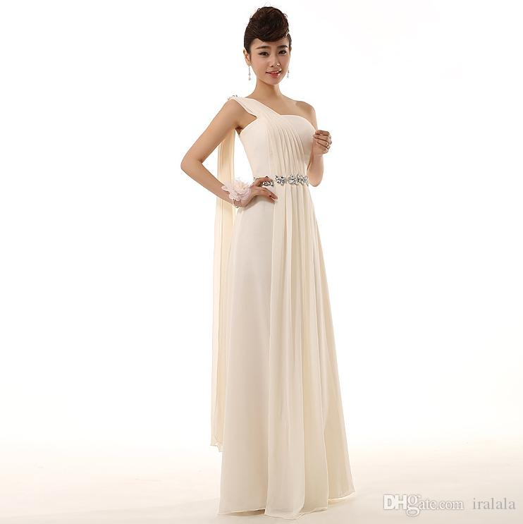 Women Country Formal Champagne Greek One Shoulder Plus Size Long