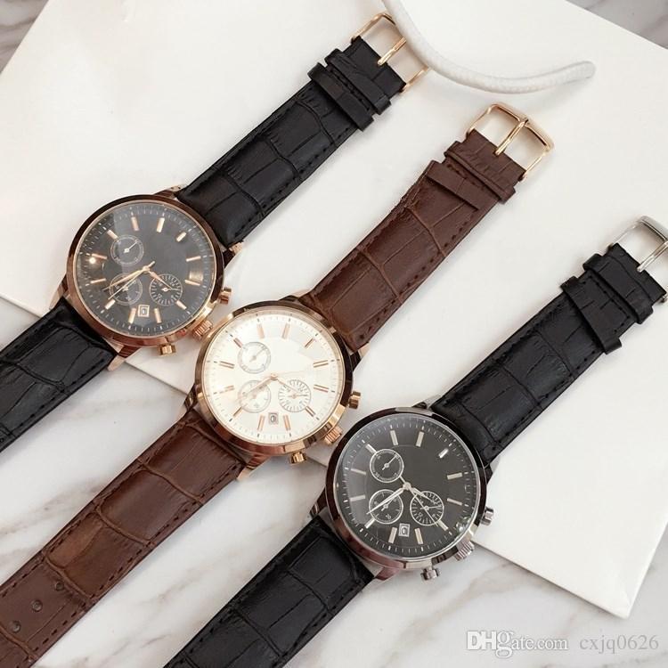 TOP moda de acero inoxidable reloj de cuero de cuarzo hombre movimiento reloj de Japón oro rosa relojes de pulsera vida a prueba de agua reloj masculino artículos calientes