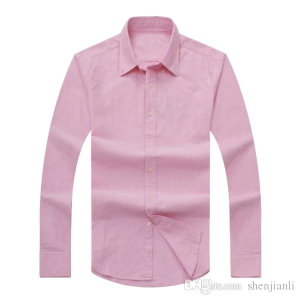 2017 nuevo otoño e invierno camisa de algodón de manga larga masculina de los hombres puros casual POLOshirt moda Oxford camisa marca social ropa lar