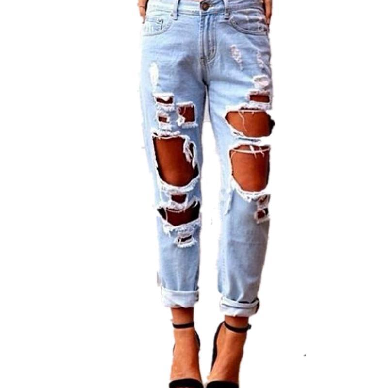 Acquista All ingrosso Sexy Jeans Strappati Boyfriend Femme Hole Denim  Pantaloni Lunghi Blu Chiaro Jeans Donna Pantaloni Larghi Dritto Angosciati  A  42.97 ... 8b439411d12