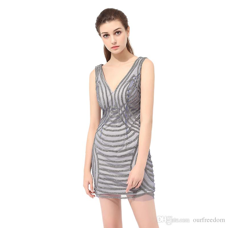 2019 New Real Image Short Grey Prom Dresses Grey Prom Dresses Sequins Fashion Sheath Cocktail Party Gown High Quality