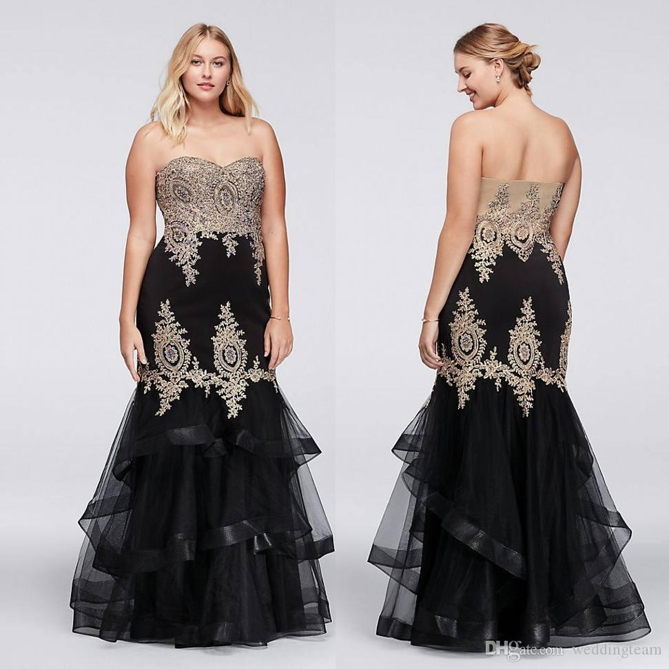 Charming Black Plus Size Mermaid Prom Dresses Lace Appliques ...