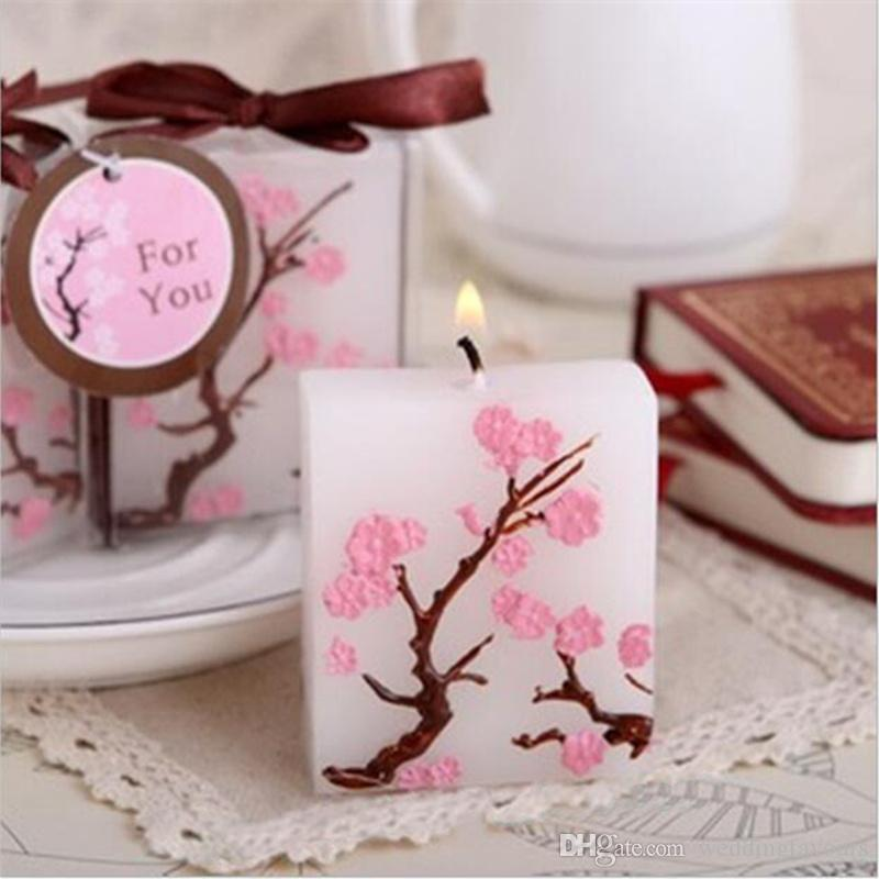 cherry blossom candle favors bridal shower wedding giveaways anniversary souvenirs party gifts wedding favor frames wedding favor gift from weddingfavours