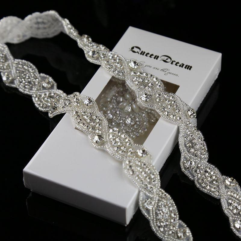 bb8ac3b7ae Wholesale- 1 Yard Silver Rhinestone Trim Crystal Rhinestone applique for  wedding sash 1