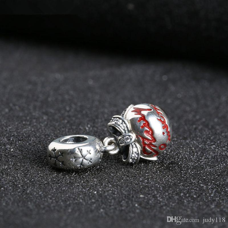 Memnon Jewelry 925 Sterling Silver Merry Christmas Bauble Pendant Beads Red Enamel Limited Edition Hanging Charms For Bracelets DIY DA188