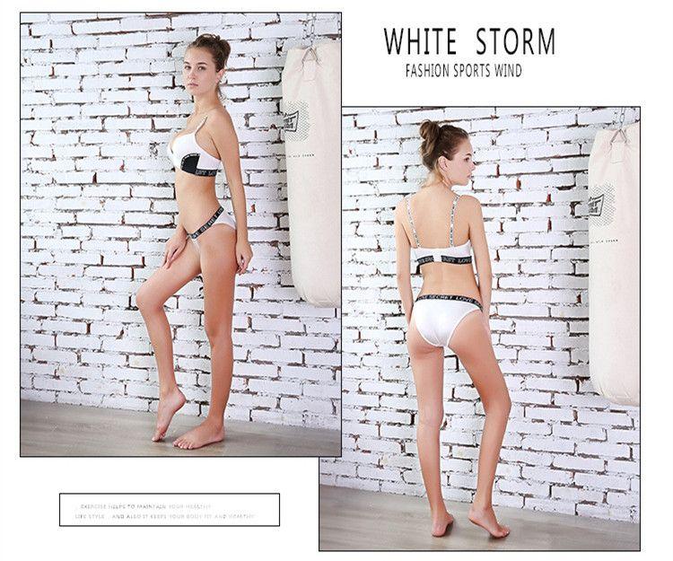 Ladies without steel ring with palm letters braze bra fashion sports bra underwear gather bra set