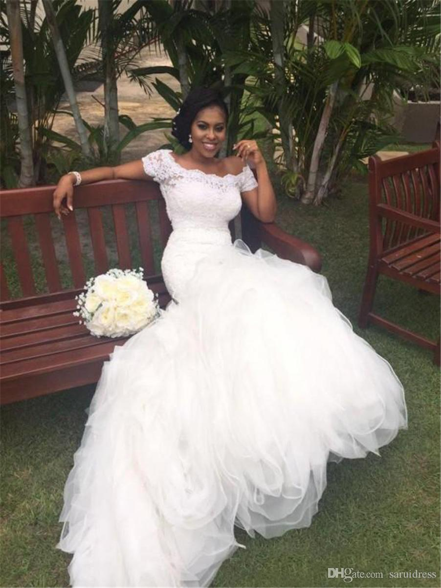 Off the Shoulder Portrait Short Sleeves Lace Top Ruffled Skirt Stunning Bridal Gowns Fit and Flare African Mermaid Wedding Dresses