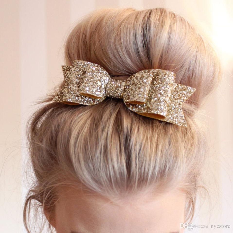 Women Blasting Gold Glitter Large Bow Hairpin GirlS Spring Hairclip Kids Hair Ornaments Wedding Flower Accessories Childrens Bridesmaid
