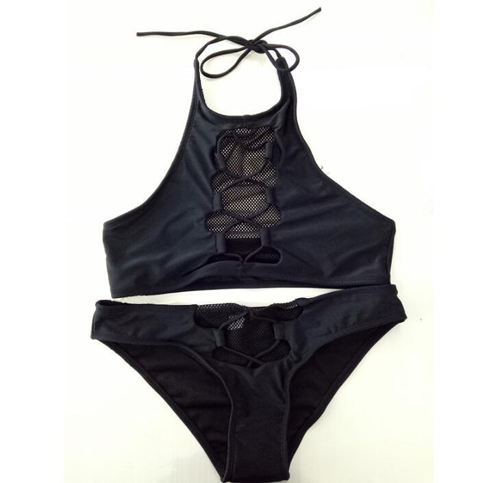 2017 Retro Bikini Set Oco Out Malha Design Triângulo Swimsuit Bra Acolchoado Surpreendente Preto Fishnet Maiô Traje