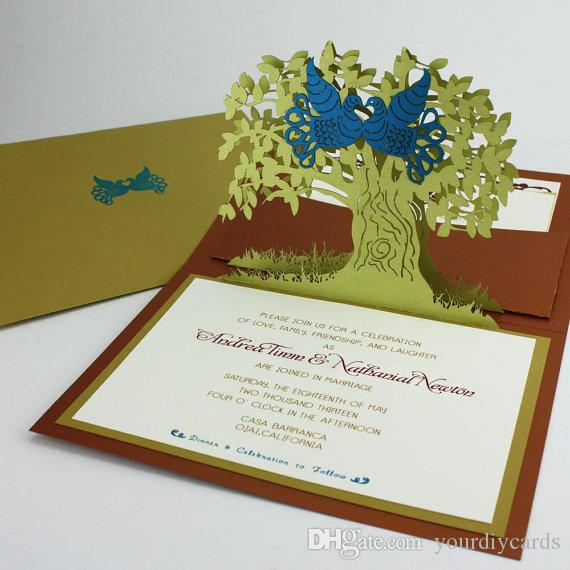 pop up cards two birds 3d laser cutting wedding invitaitons