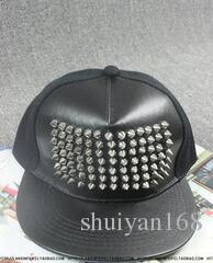 Leather Fitted Baseball Snapbacks Rivet Snap Back Caps Korean Bigbang Metal Snapback Hip Hop Cap Fashion Hats Adjustable DHL Free