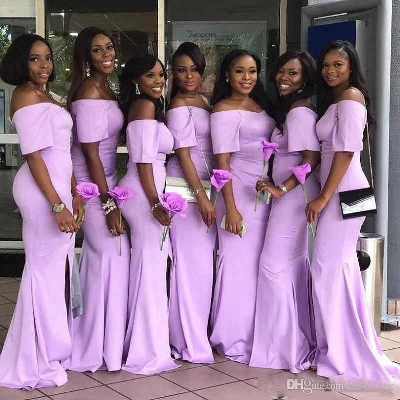 Compre Lavanda Surafricana Vestidos De Dama De Honor Sirena Mangas ...