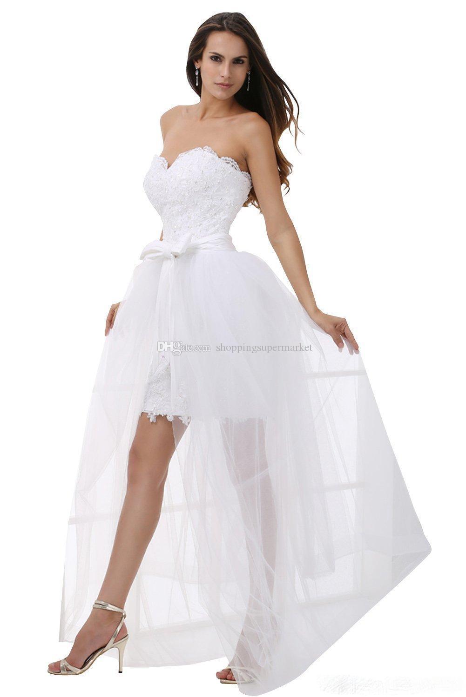 fb9f80ba7 Vestidos de fiesta hermosos 2016 nuevas faldas cortas sin tirantes gasa  falda vestido de noche extraíble apliques de encaje vestidos de graduación  ...