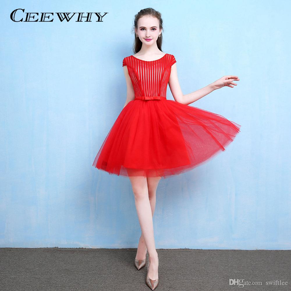 fc6481863dd73 CEEWHY Striped Red Homecoming Dress Cap Sleeve A-line Formal Party ...