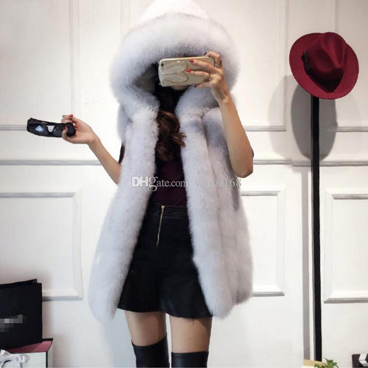 2018 Fur Hood Vest Women Faux Fox Fur Vest Striped Long Fur Gilet Ladies Sleeveless Rabbit Coat Winter Jacket Plus Size 4XL