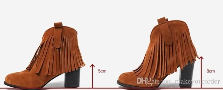 wholesale factory price hot seller new style sexy Ankle Boots Tassel Boots round nose chunkyheel gril boot056
