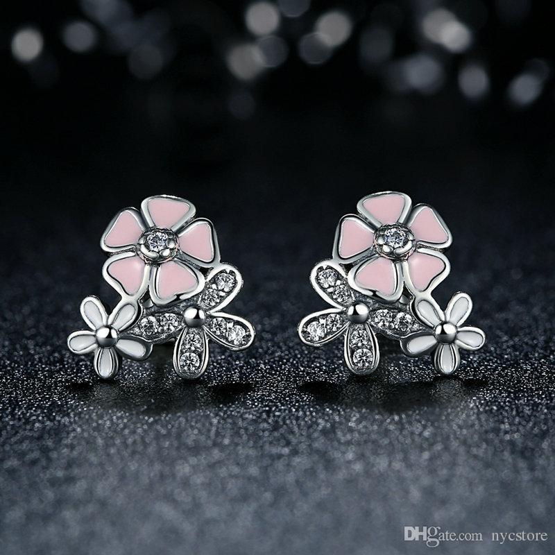 Romantico orecchini in argento 925 con fiore rosa Orecchini con diamanti bling bling Gioielli da donna
