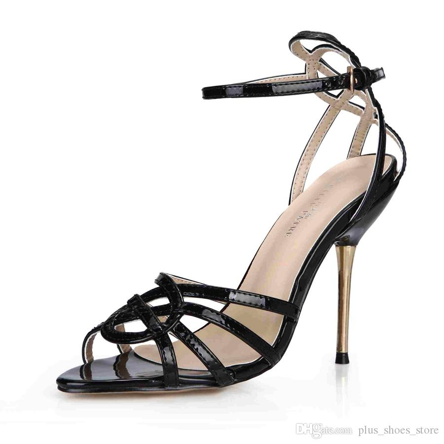 Real Image Women Sandals Shoes 2017 Patent Leather Chaussures Femme Ladies Party Shoes Metal Heels Sandals Cheap Modest Shoes Sexy