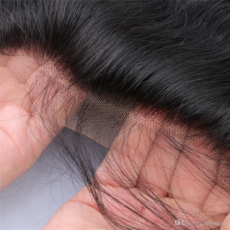 Slove 8A Brasiliani all'orecchio Chiusura frontale in pizzo 3 vie Parte 13x4 Onda del corpo Virgin Remy dell'onda del corpo Capelli umani Frontal pizzo
