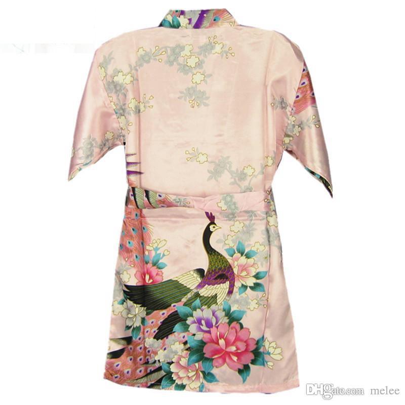 10 Farben 7 Größen Kinder Mädchen Robe Satin Kleine Kinder Kimono Roben Brautjungfer Geschenk Blume Mädchen Kleider Seide Bademantel Nachthemd Kimono