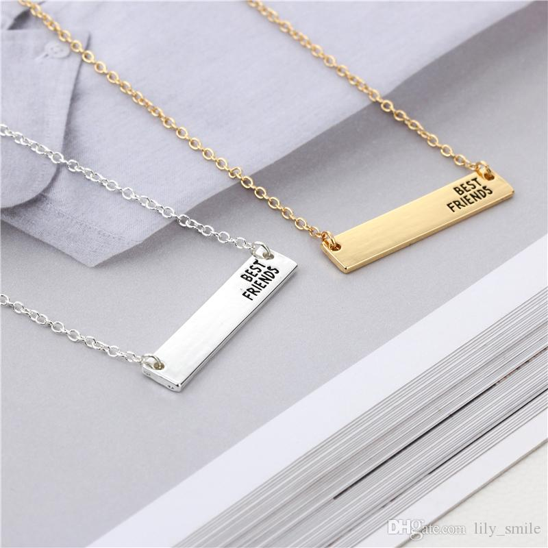 New Cute Bar Handmade LetteringBest FriendsNecklace Birthday Gift For Best Friends Or Brothers Pendant Online With