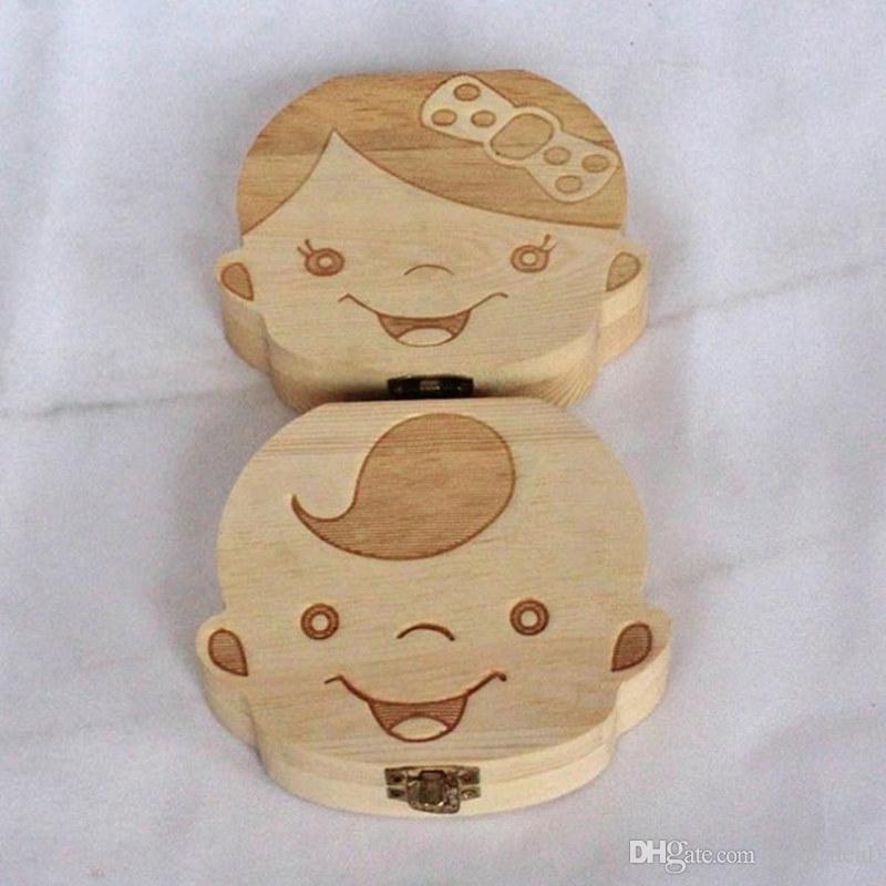 المبدع هدية الخشب طفلة فتى الأسنان المنظم صناديق حفظ تخزين الأسنان اللبنية تذكار جمع F20172498