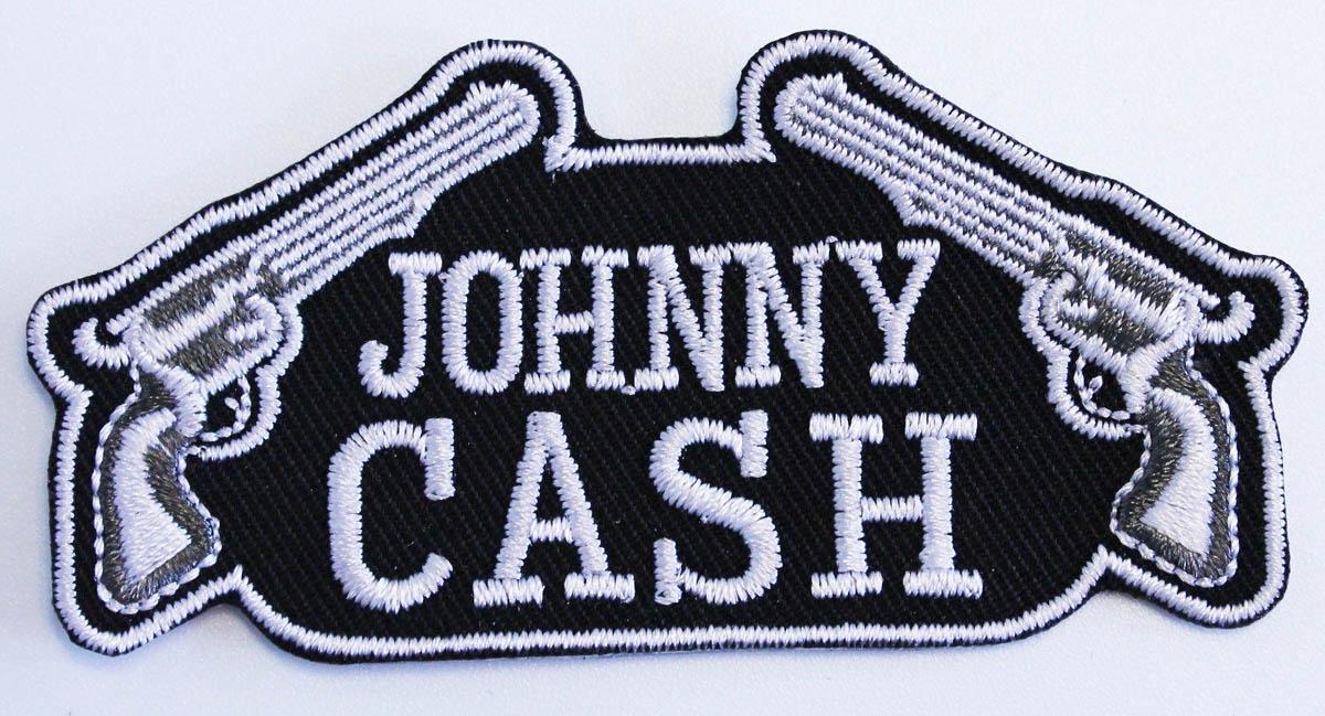 Sıcak Satış 2017 Özel Tasarım Logo Adı JOHNNY CASH GUNS YAMA Demir Açık T-bok Kap Çantası Ücretsiz Kargo