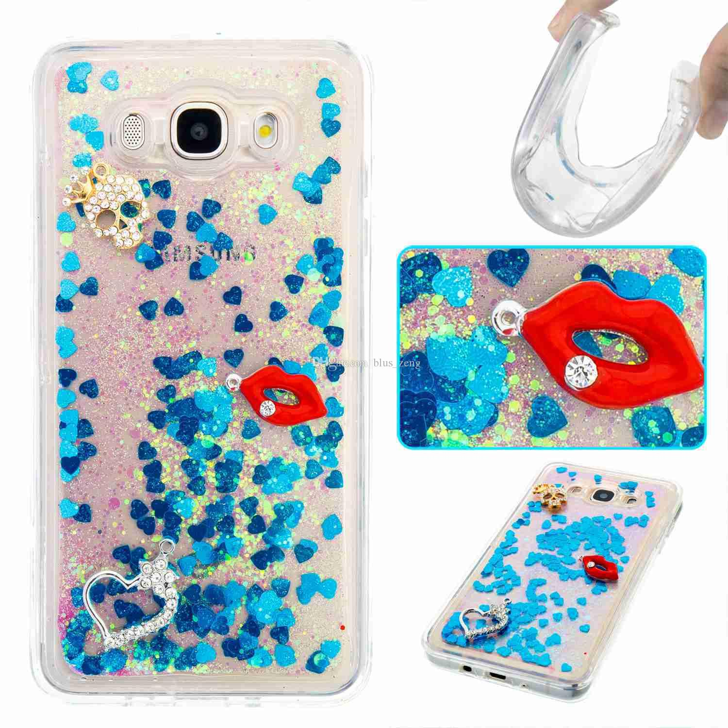 Quicksand Moving Bling Glitter Floating Dynamic Flowing Liquid Tpu Soft Transparent Case For Samsung Galaxy J3 J5 J7 Prime A3 A5 2017 J710 Cell Phone Covers