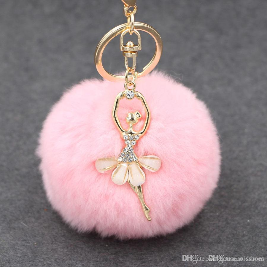 Fashion Women Rabbit Fur Cony Hair Rhinestone Ball Pom Pom Charm Car ...