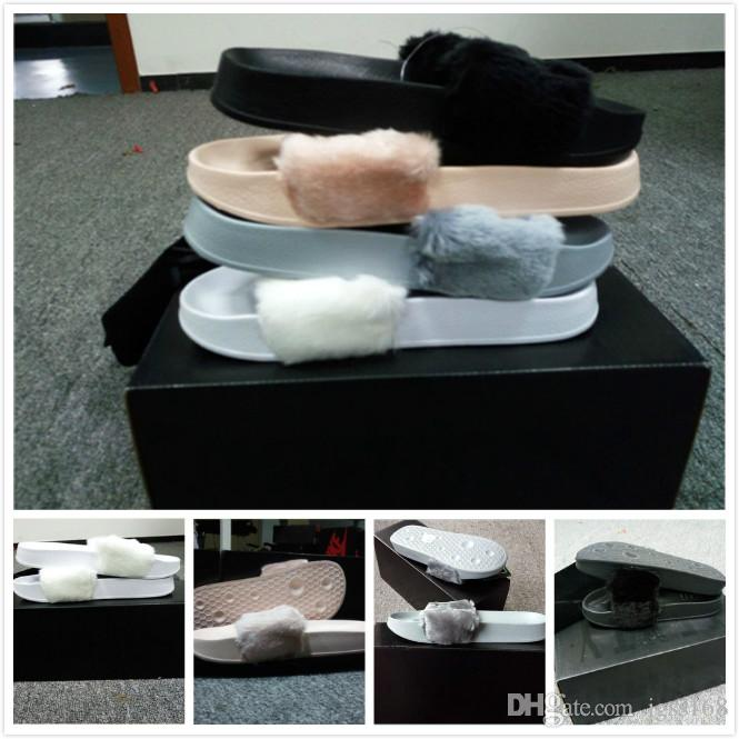 a9f5d015ac66 With Boxes Dust Bag WHITE Leadcat Fenty Rihanna Shoes Women Slippers ...
