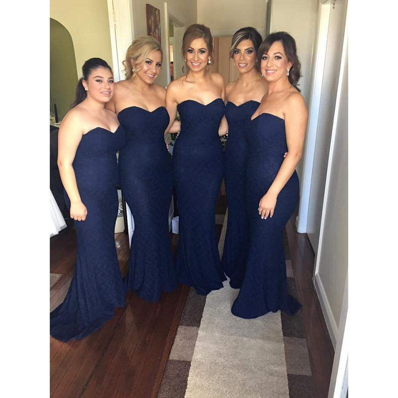 2018 Dark Navy Blue Lace Plus Size Bridesmaid Dresses Sweetheart