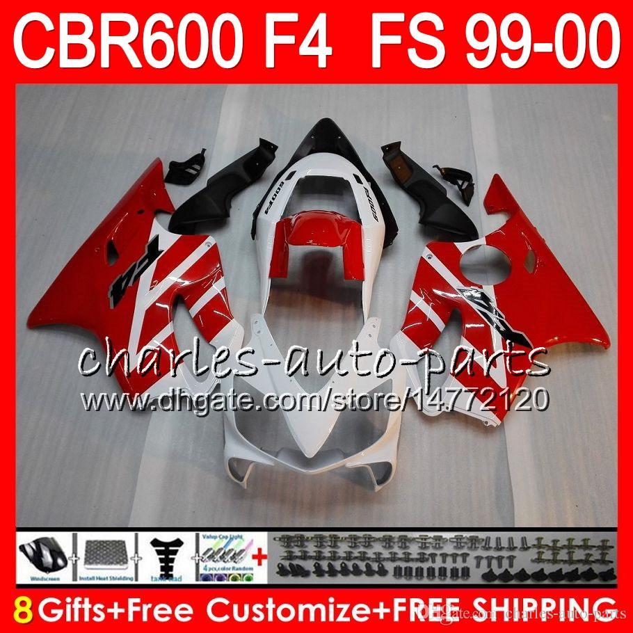 8Gifts Carrosserie Pour HONDA CBR 600 F4 99-00 CBR600FS FS 30HM11 CBR600 F4 1999 2000 blanc noir CBR 600F4 CBR600F4 99 00 Kit de carénage