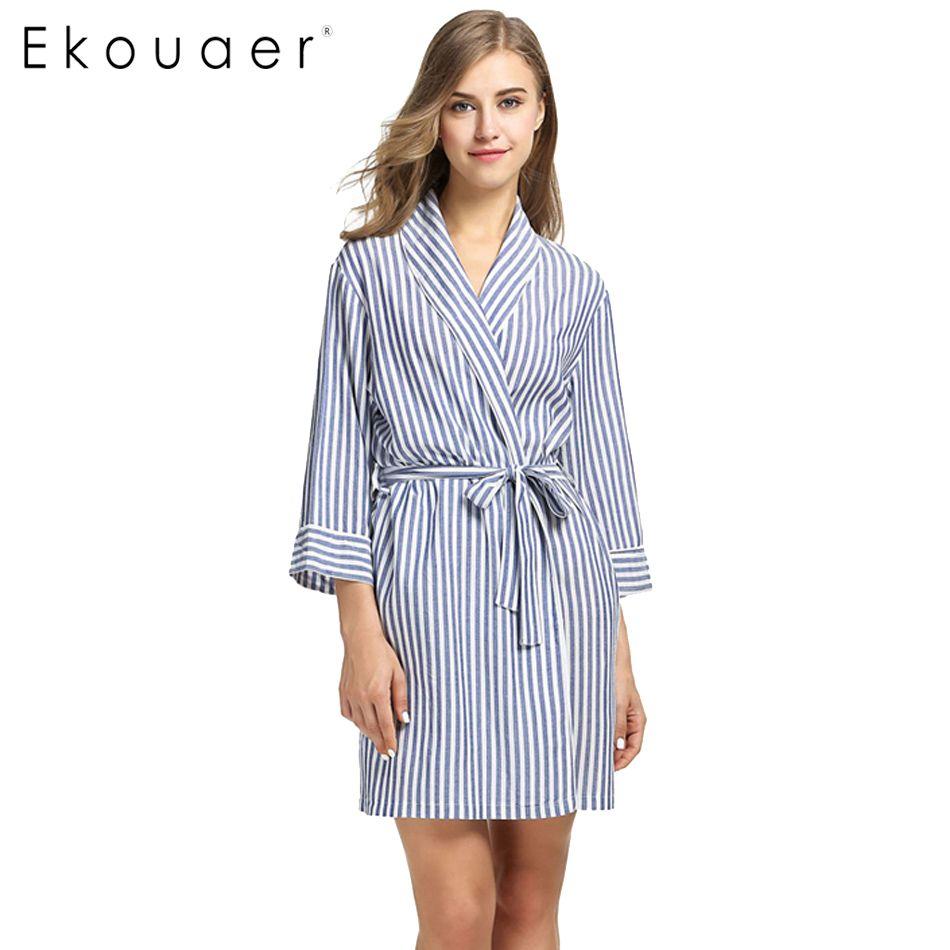 2018 Wholesale Ekouaer Striped Sleepwear Robe Women\'S Dressing Gown ...