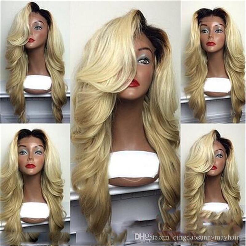 100% Unprocessed 613 lace wig Blonde Two Tone Color ombre lace wig 1b 613 full lace wigs With baby hair with baby hair