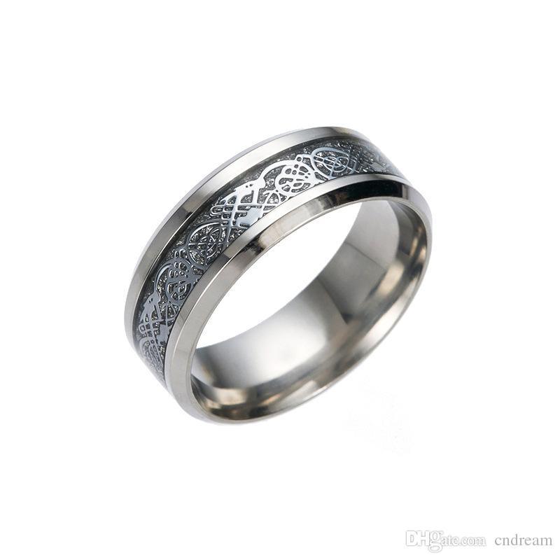 Edelstahl Drachenring Drachenmuster Ring Hochzeit Band Ringe Frauen Herren Ring Modeschmuck Will und Sandy Geschenk