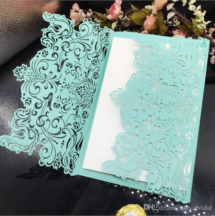 mint green laser cut flower wedding invitations card personalized