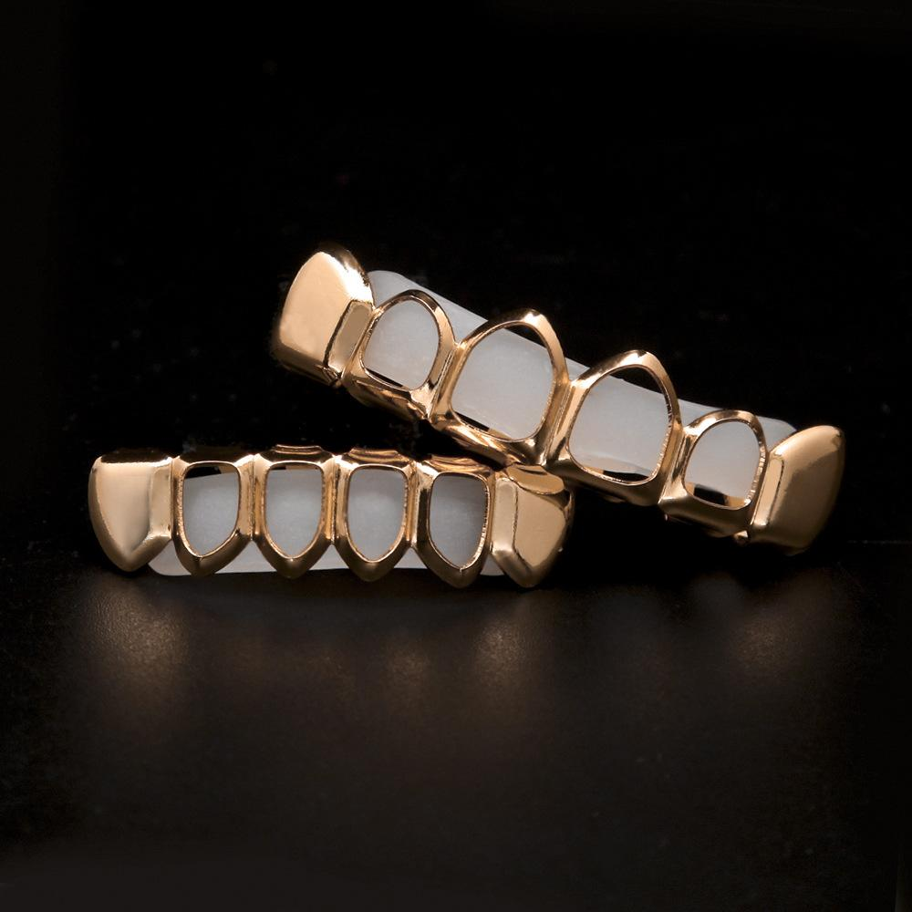 Hiphop Hollow Grillz Rose Gold For Men Fashion Teeth Grillz Jewelries 18K Gold Plated Good Quality Dance Accessories