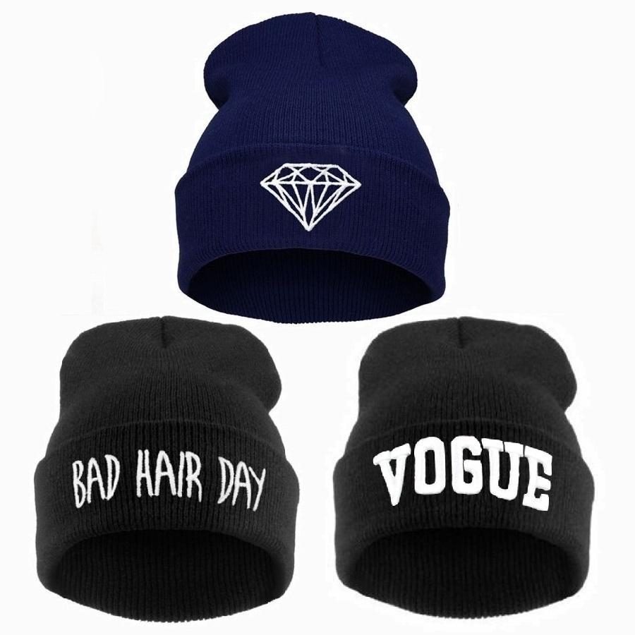 da7391a6cd141 VOGUE Diamond Bad Hair Day Knit Bonnet Winter Hat Beanies for Men ...