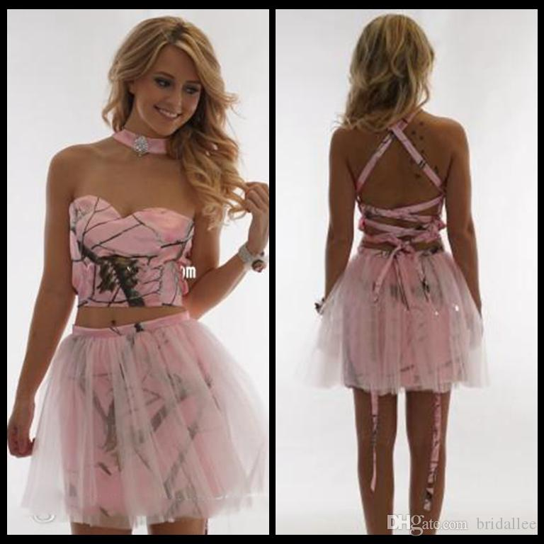 Sexy Pink Camo Short Mini Homecoming Dresses Criss Cross Tulle Overlay Two  Piece Sleeveless Special Prom Party Graduation Gowns Cheap Satin Best  Dresses ... 36d7860ce