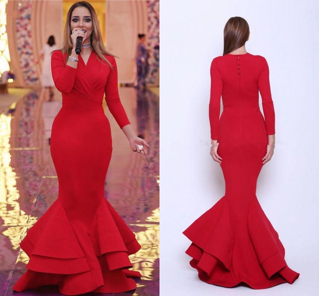 2017 New Elegant Red Mermaid Prom Dresses Long Sleeves ...
