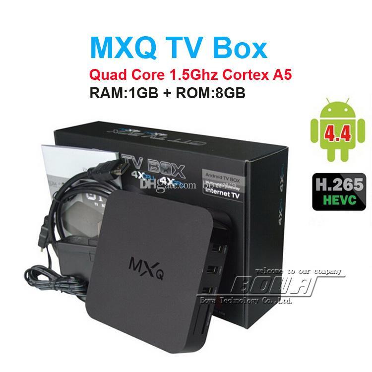 14PCS MXQ TV Box Amlogic S805 Quad-Core Cortex-A5 Mali-450 Quad-Core  H 264/H 265 MX MXQ Android TV BOX