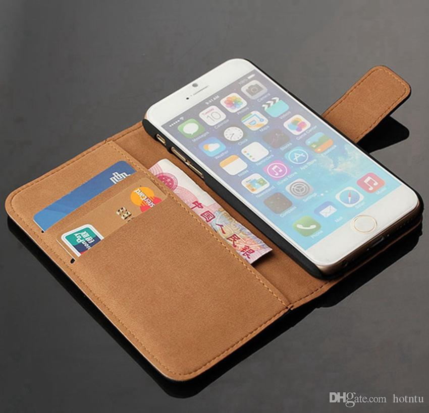 For iPhone 7 7plus Wallet Case Genuine Leather Flip Cover With Card Holder Stand Protective Cell Phone Cases For Apple iPhone 7 Plus