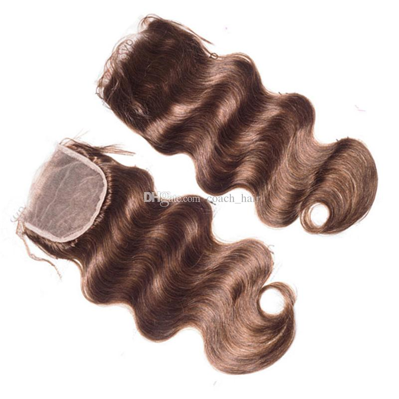 Chestnut Brown Lace Closure With Hair Bundles Color #4 Medium Brown Body Wave Human Hair Weaves With 4*4 Top Closure