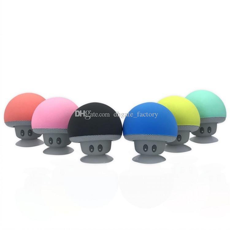 2018 nuovissimo fresco gadget colorato mini altoparlante del fungo altoparlante bluetooth 3.0 con microfono e ventosa il telefono mobile IP6S all'ingrosso