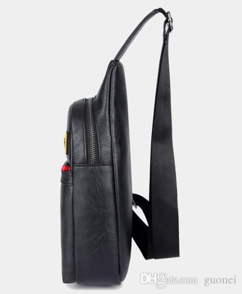 Little Monster PU Plain Rucksack Einfache Brusttasche Reise einzigen Cartoon Schulter PU Reise Reise Taille Taschen Pack Unisex nützliche Bagpack