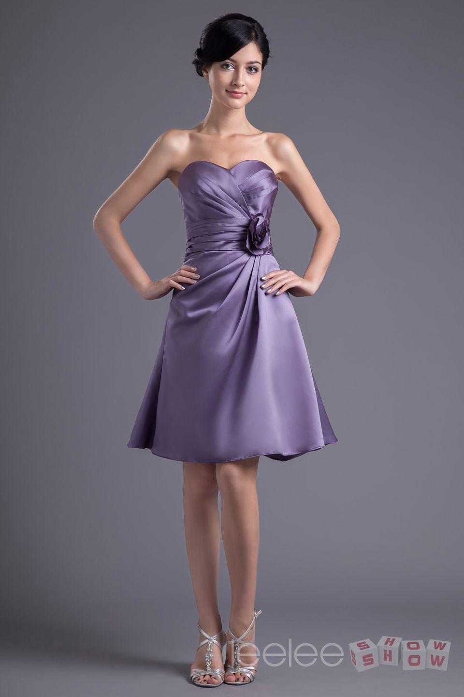 Compre Graceful A Line Sweetheart Flores Púrpura Elástico Mujeres ...
