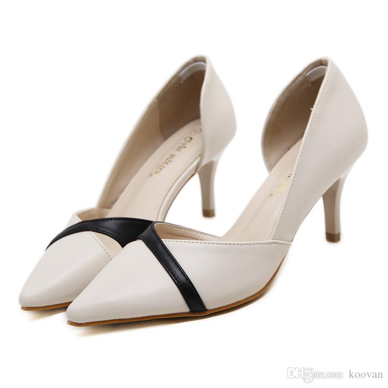 Koovan Fashion Pumps 2017 Summer European Shallow Mouth 7 Cm High Heel  Women Shoes All-Match Patchwork Night Club Students Ladies Shoes Women  Pumps Summer ... d10320290d65