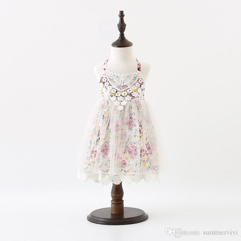 Großhandel Süßes Mädchen Prinzessin Kleid Kinder Blumen Gedruckt ...