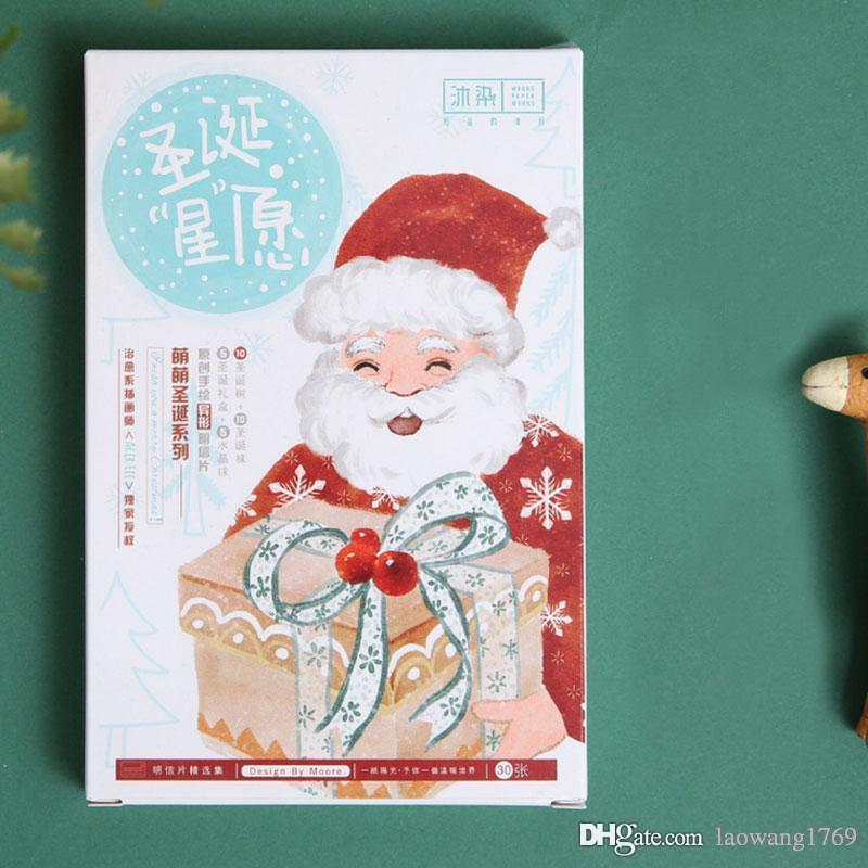 Box Hand Drawing Style Christmas Wish Postcards Kawaii Holiday Greeting Message Card New Year Gift Cards Birthday Funny Greetings From