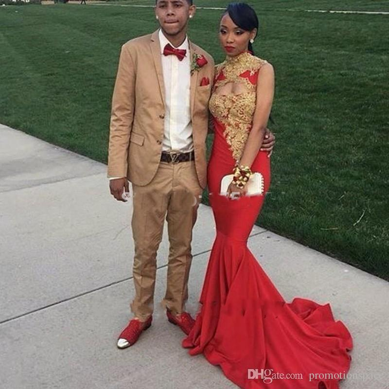 African Formal Dresses 2017 Mermaid Red Prom Gowns Gold Lace ...
